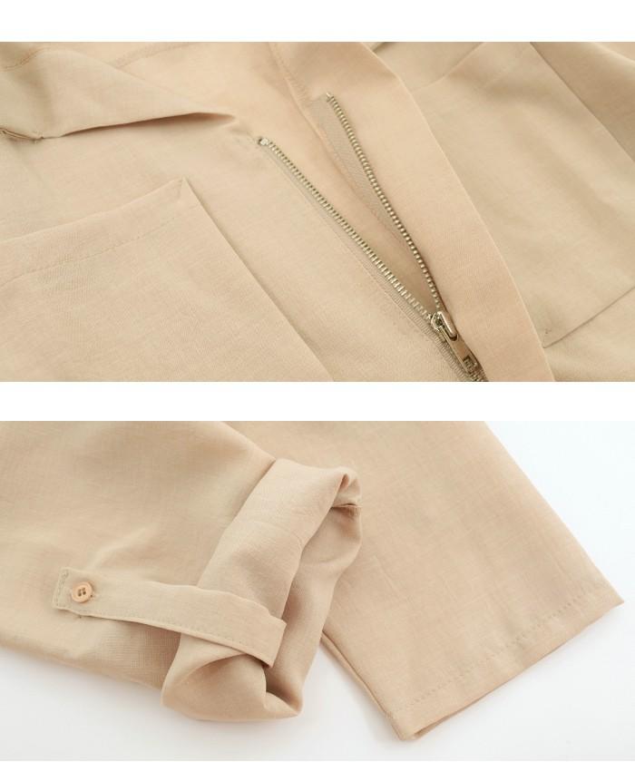 襟ぬきスキッパーZIPシャツ