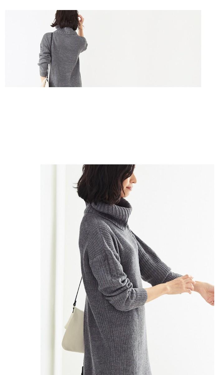 袖ケーブル編みニットワンピース11