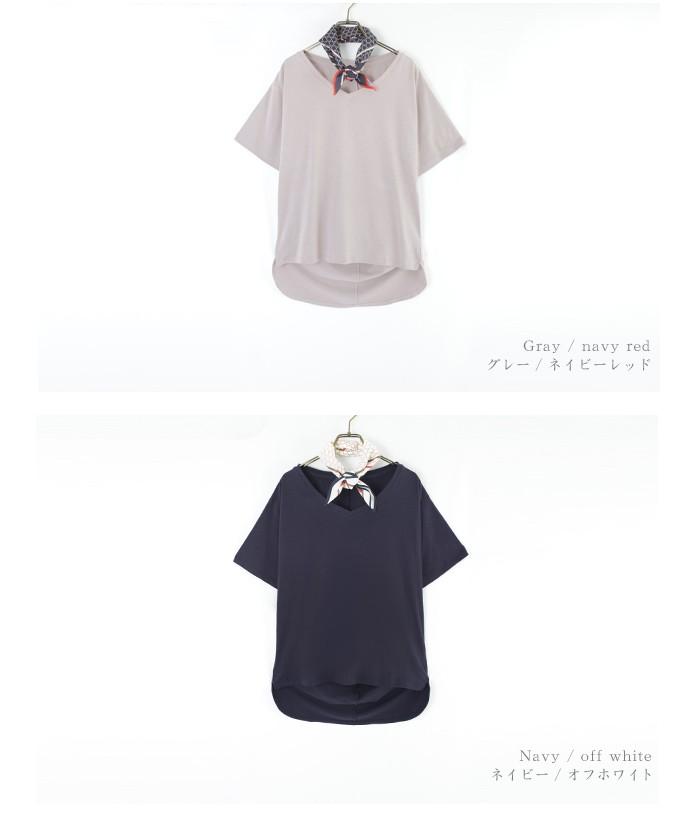 スカーフ付ドレープヘムTシャツ13