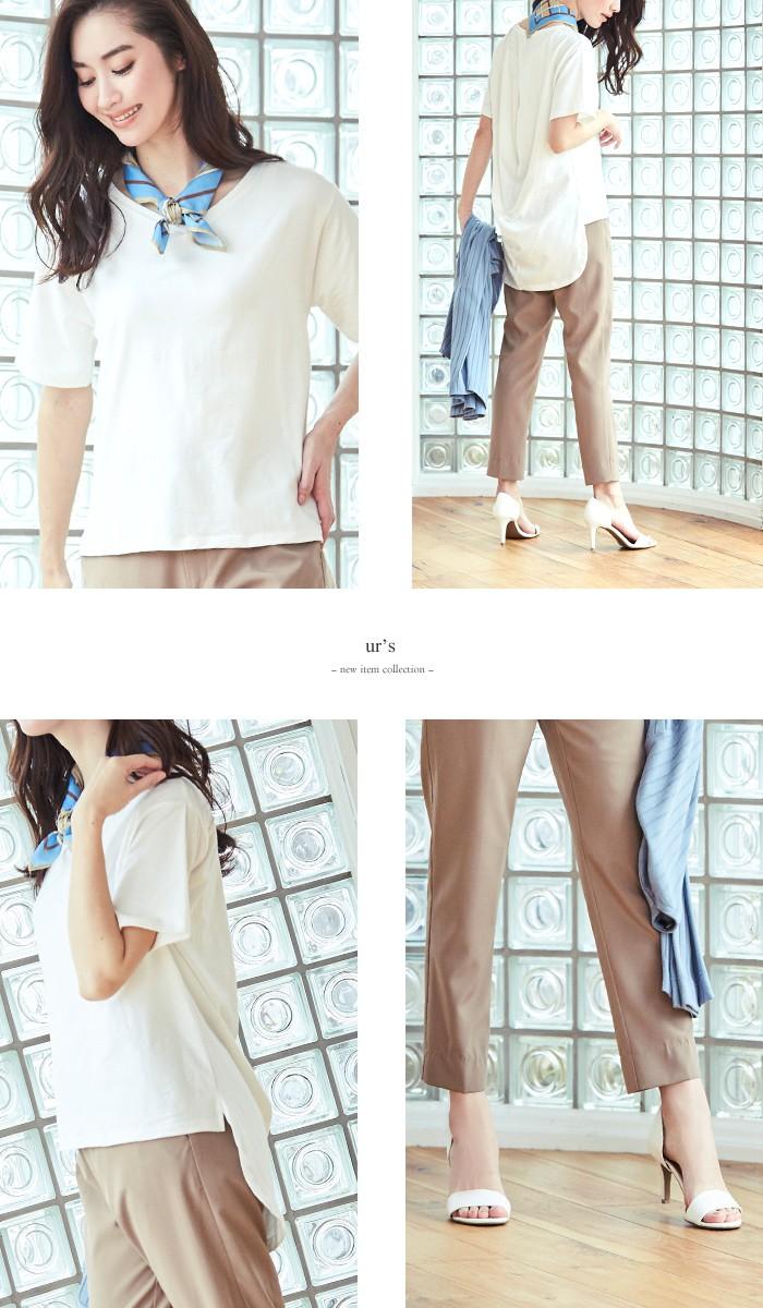 スカーフ付ドレープヘムTシャツ6