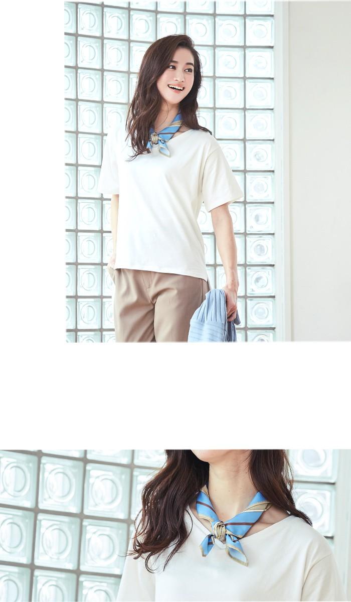 スカーフ付ドレープヘムTシャツ8