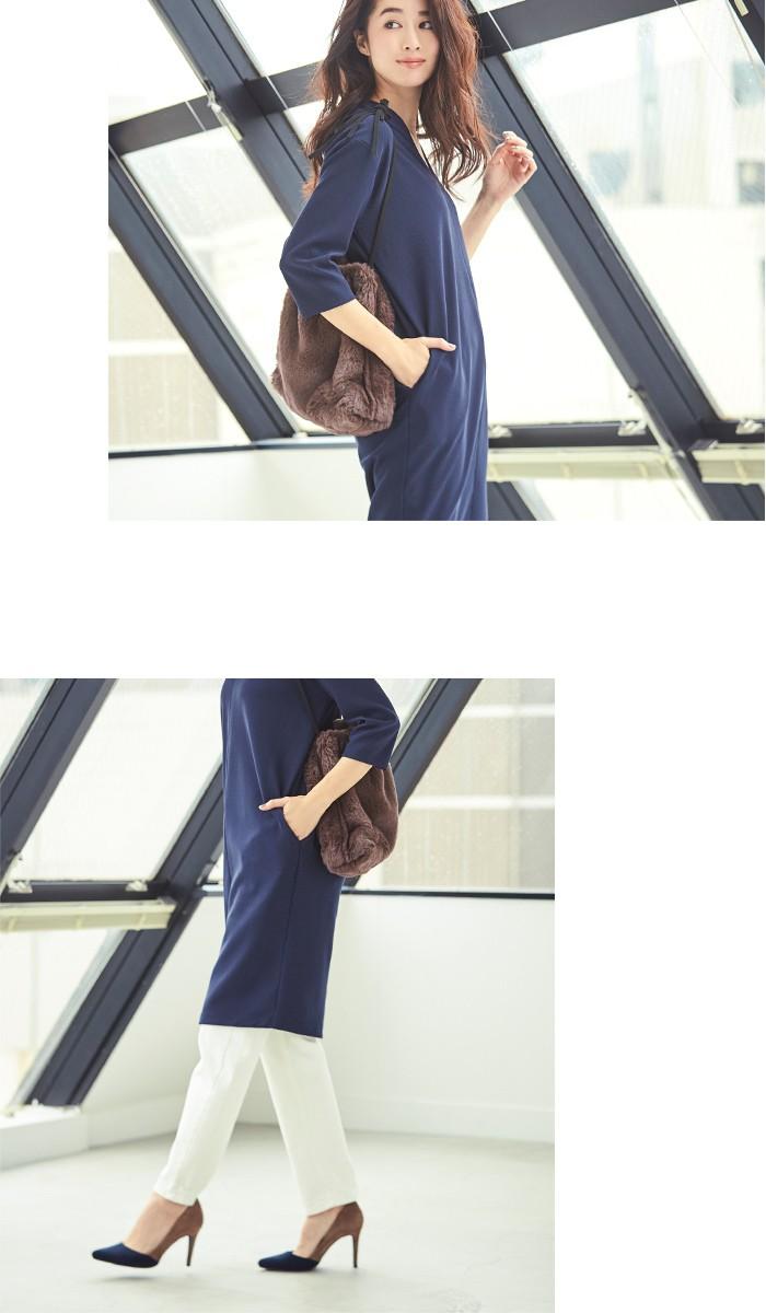 Vネックカットソー七分袖ワンピース6