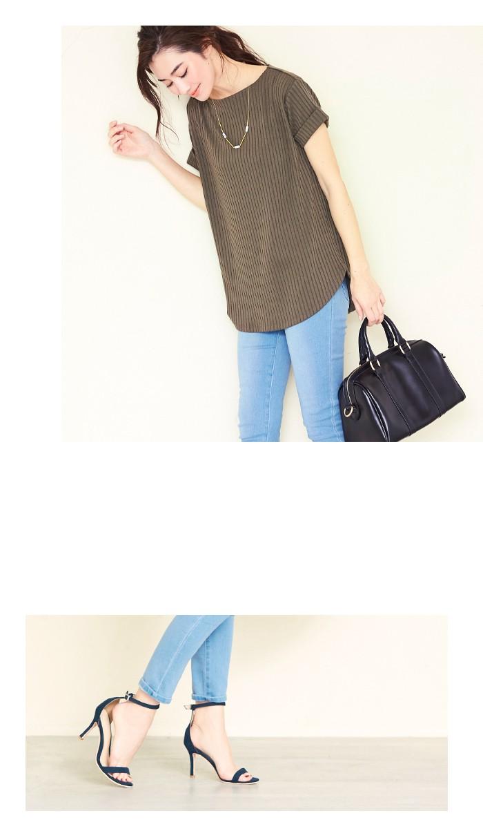 リブボートネックTシャツ7
