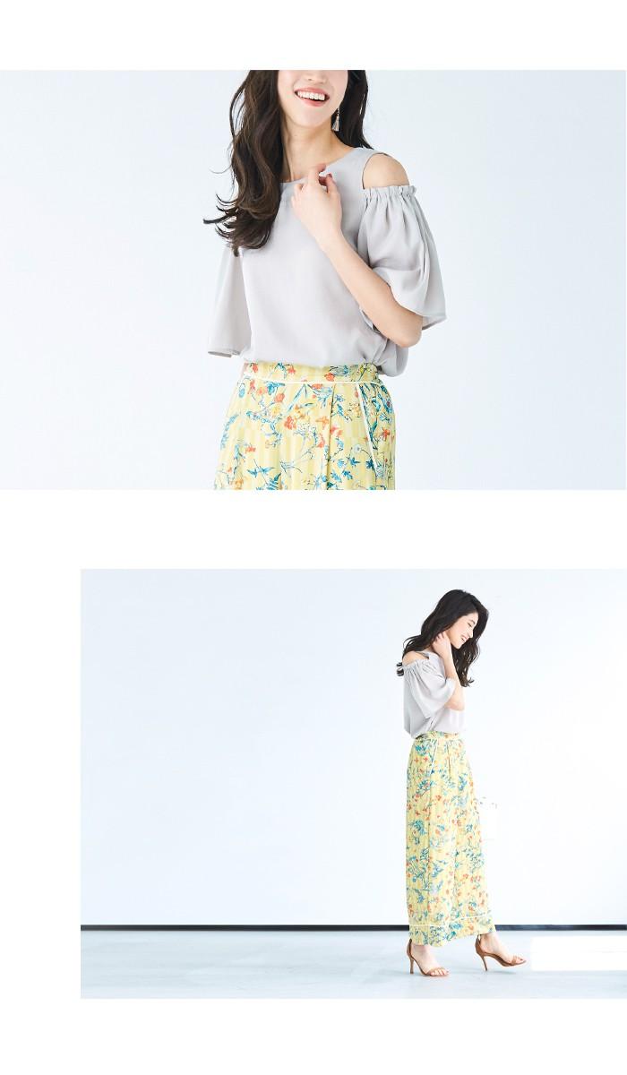 花柄ストライプジョーゼットパンツ7