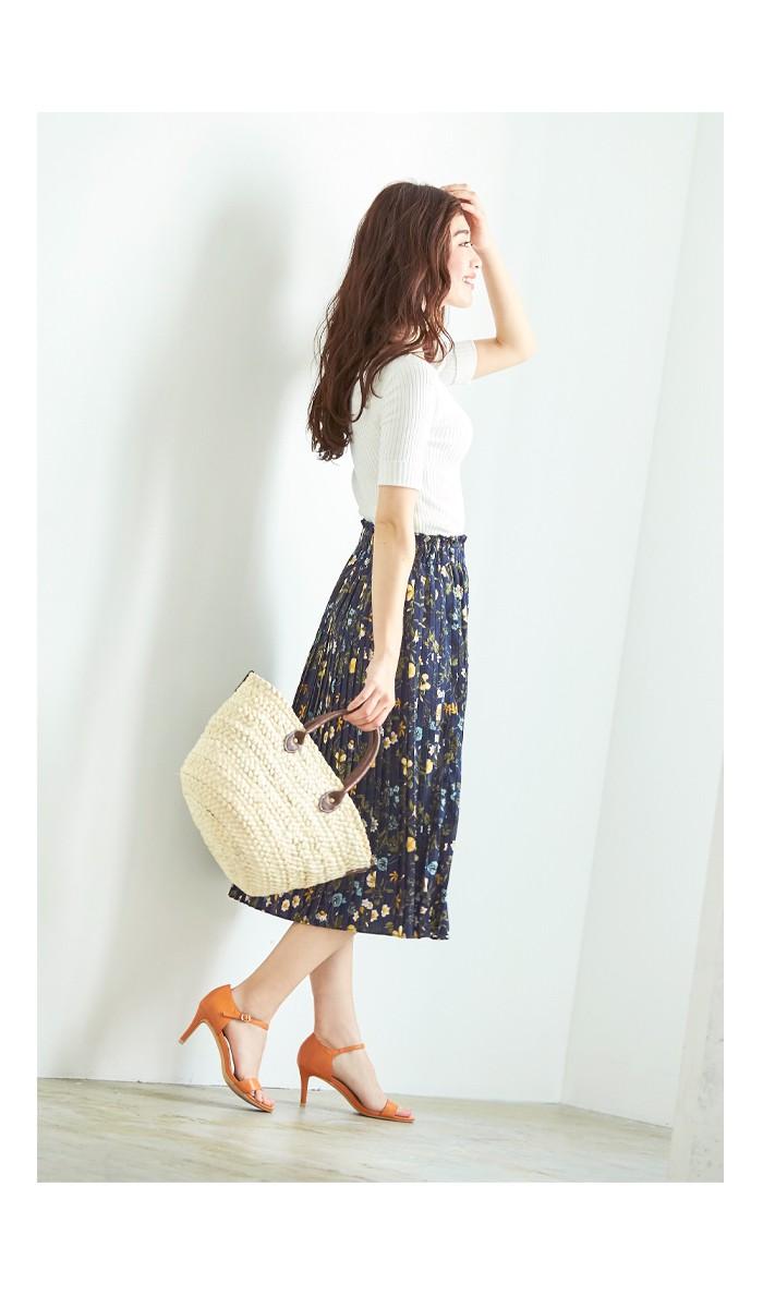 花柄プリーツスカート3