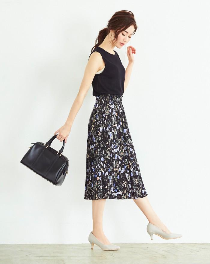 花柄プリーツスカート1