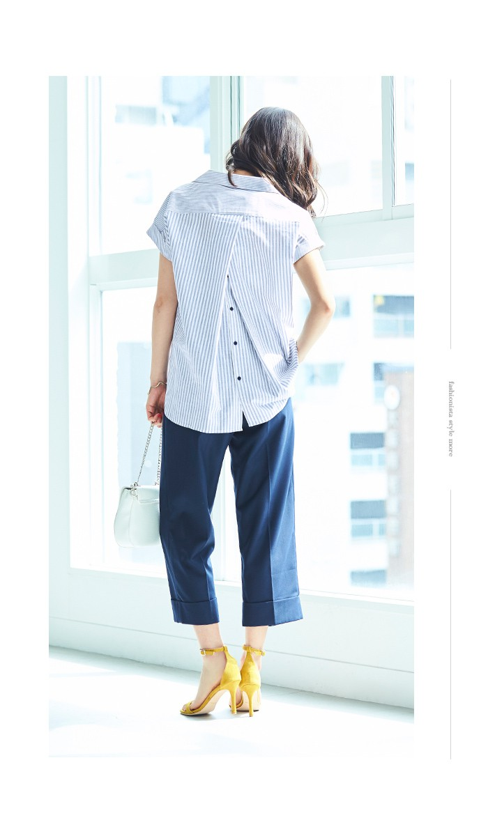 バックデザインストライプシャツ4