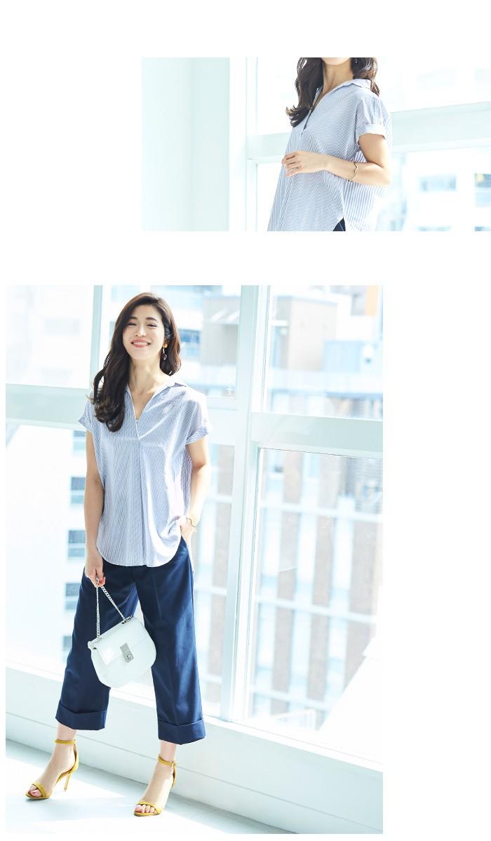 バックデザインストライプシャツ5