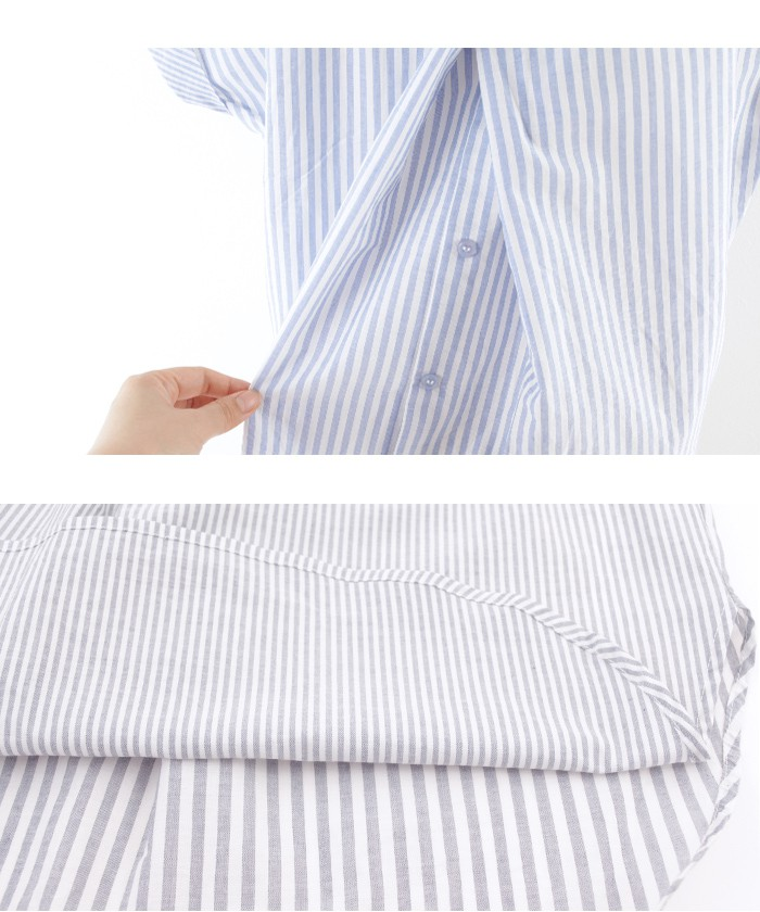 バックデザインストライプシャツ15