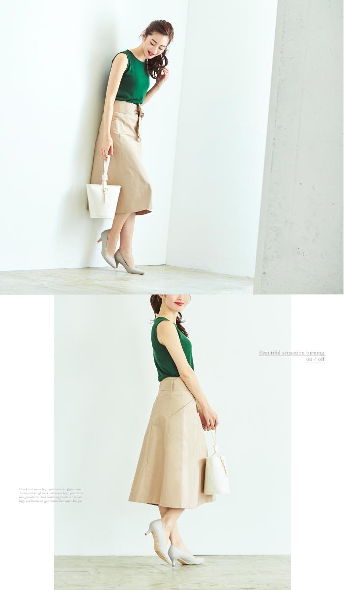 ウエストリボン台形スカート5