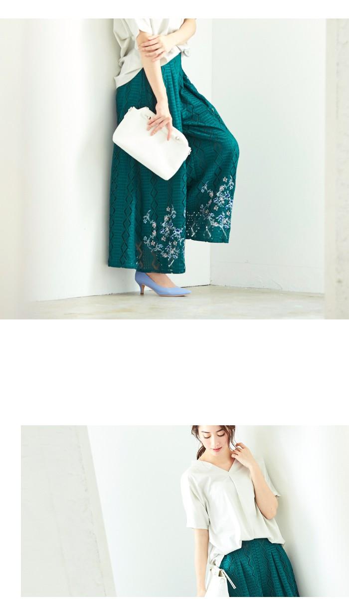 フラワー刺繍イージーワイドパンツ4