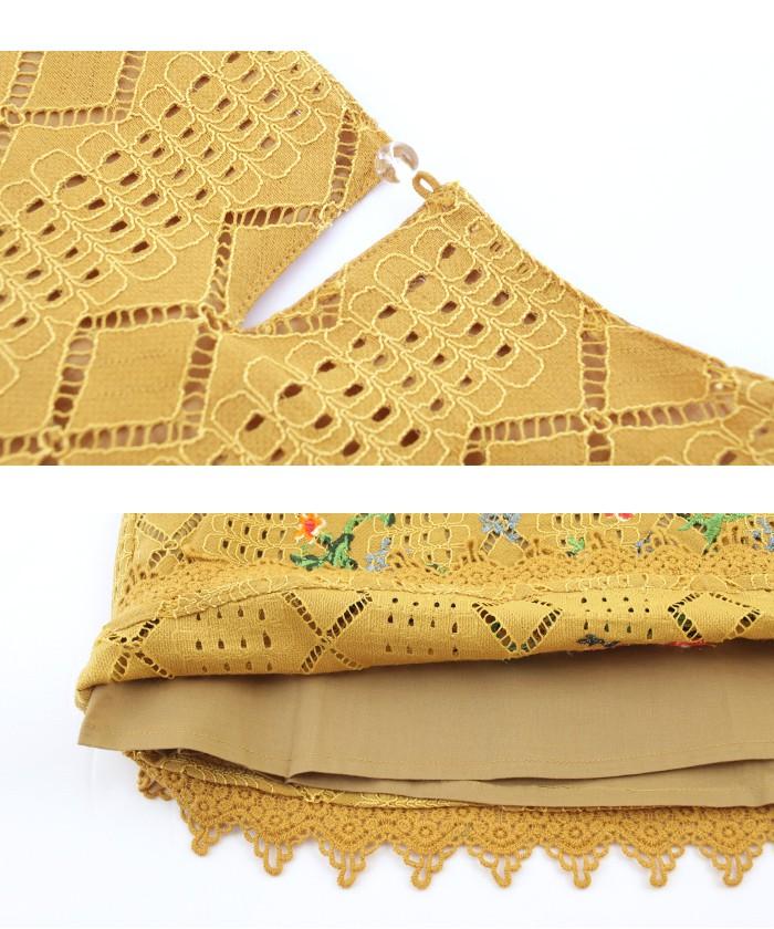 フラワー刺繍ノースリーブブラウス15