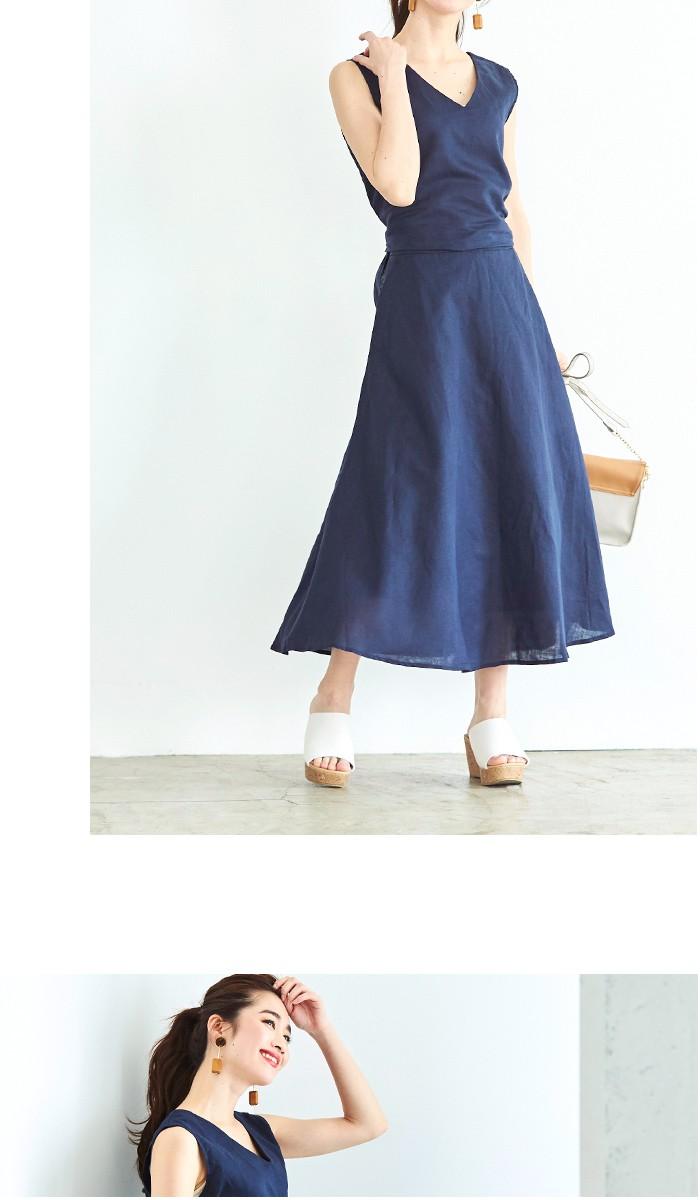 リネントップス×スカートセットアップ9