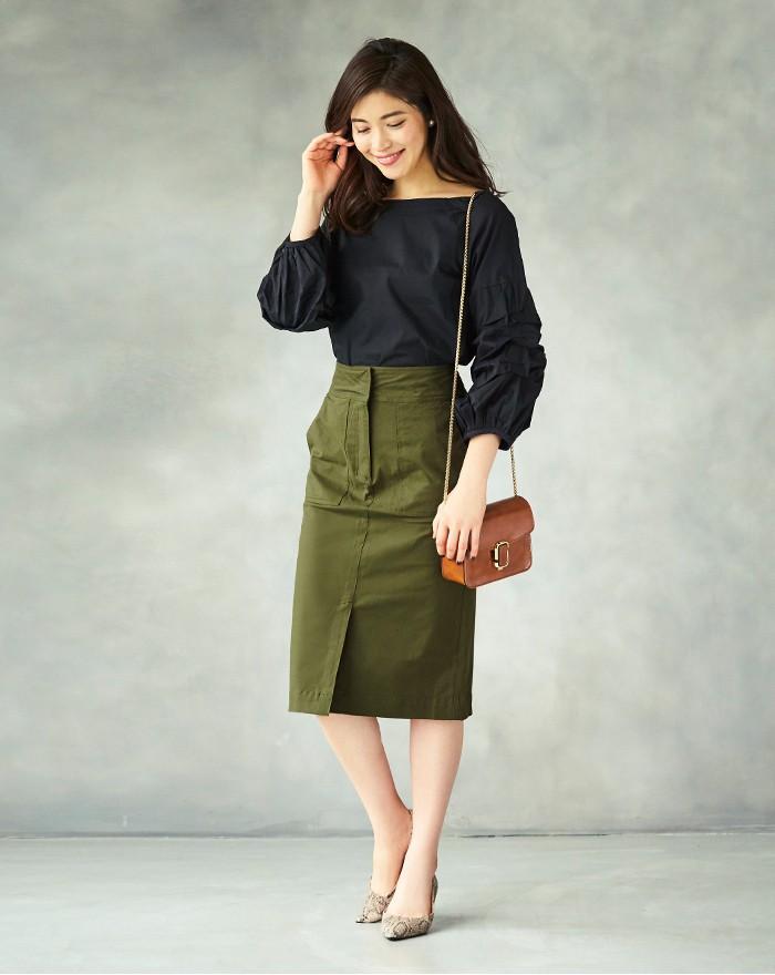 フロントスリットタイトスカート1