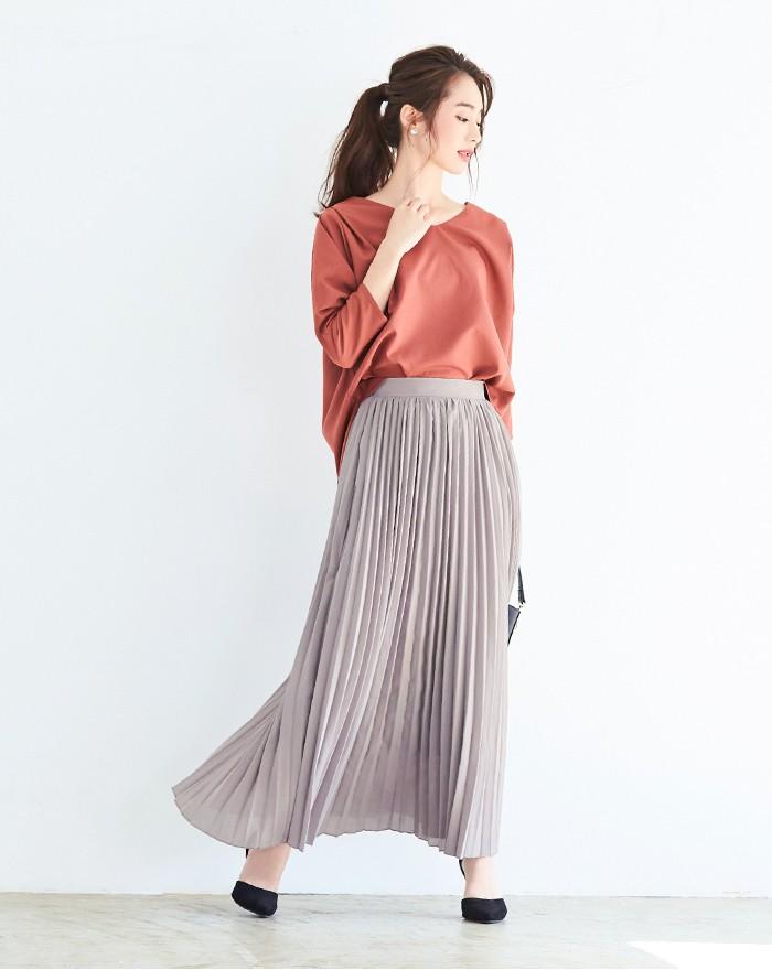 プリーツロングスカート1