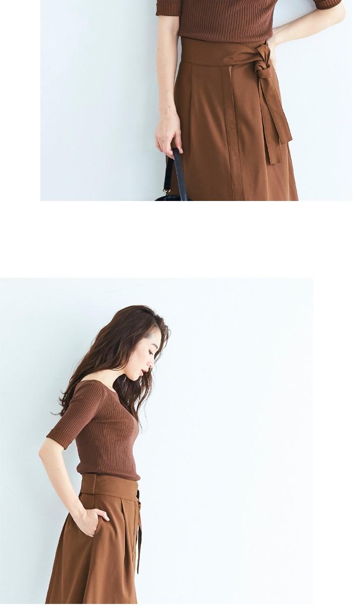 ウエストリボンAラインスカート5