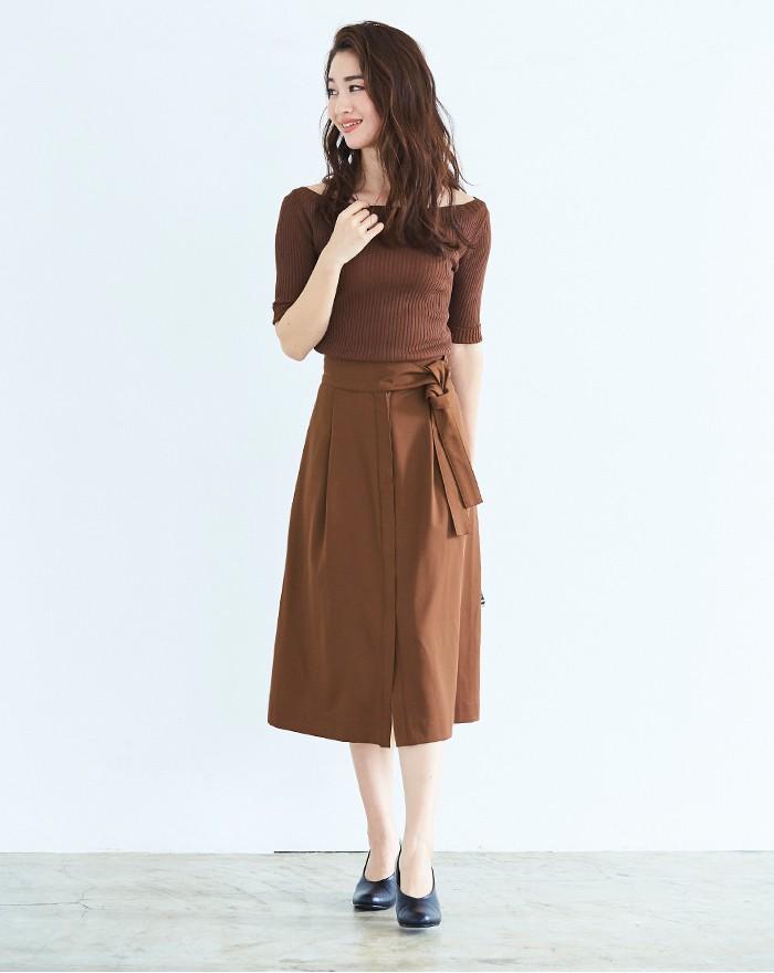 ウエストリボンAラインスカート1