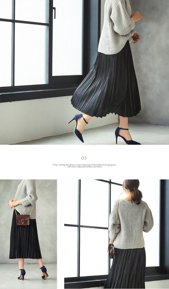 フィラメントサテンミディアムプリーツスカート6