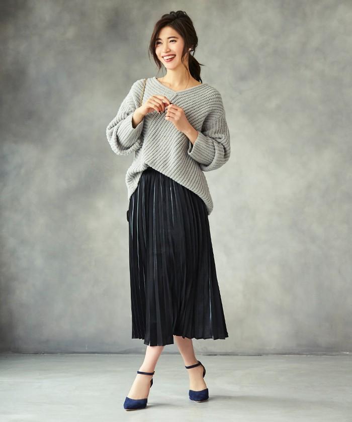 フィラメントサテンミディアムプリーツスカート1