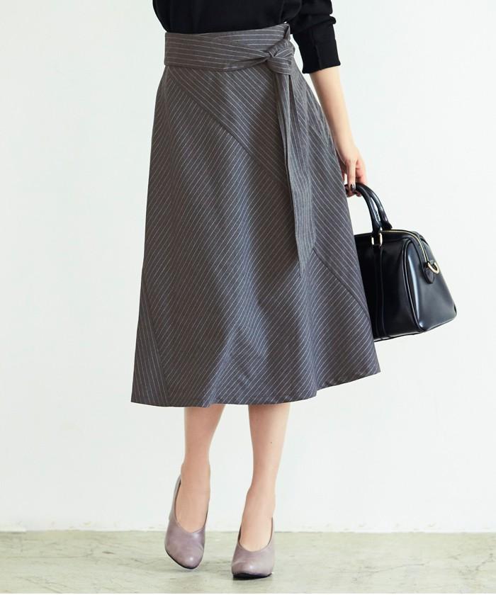 ピンストライプ切替スカート1