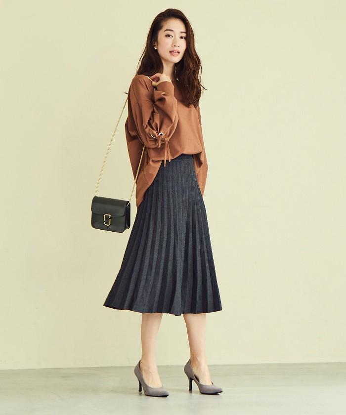 プリーツニットスカート1