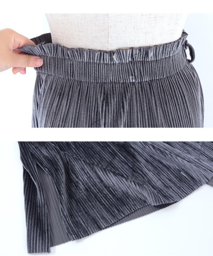 ベルト付きベロアプリーツスカート15