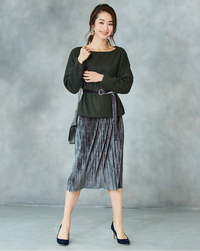 ベルト付きベロアプリーツスカート1