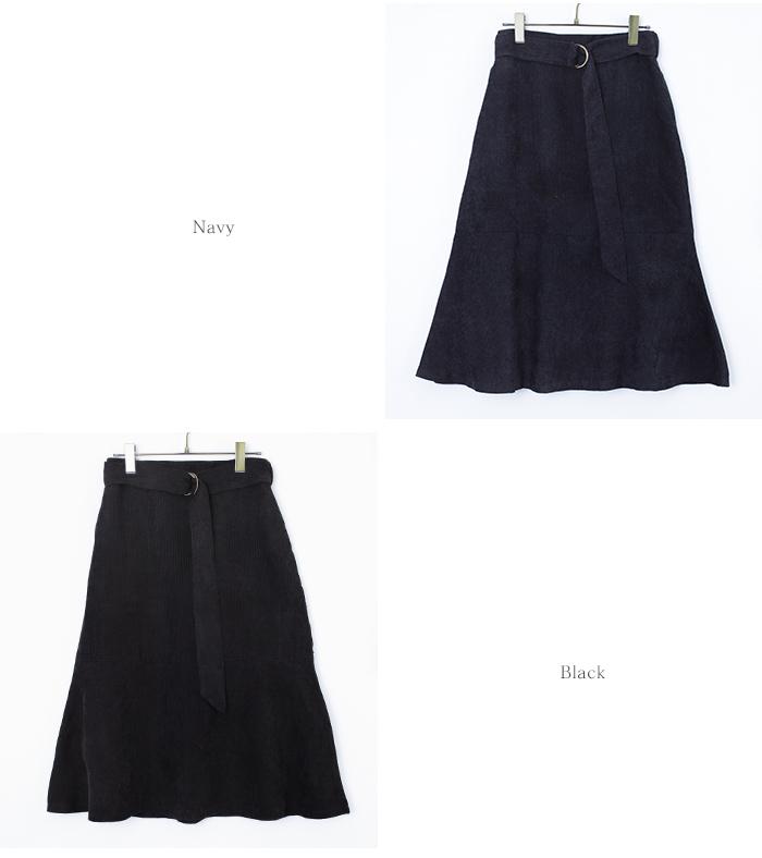 ベルト付裾フレアコーデュロイスカート12