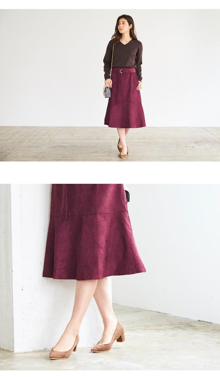 ベルト付裾フレアコーデュロイスカート5