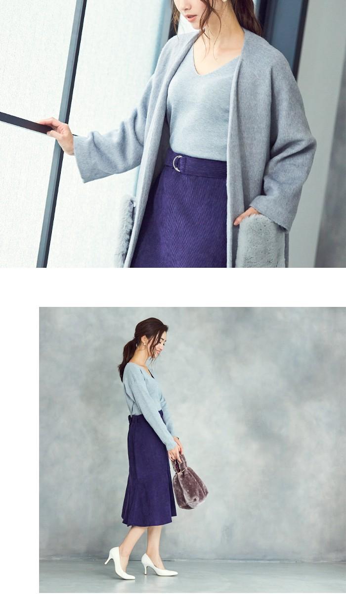 ベルト付裾フレアコーデュロイスカート9