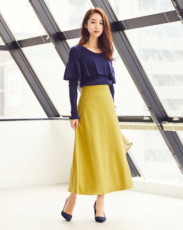 Aラインロングスカート1
