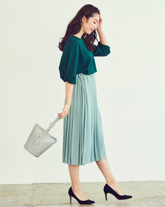 カラープリーツスカート1