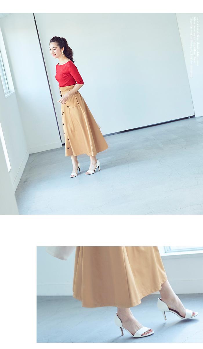 トレンチ風フレアスカート4