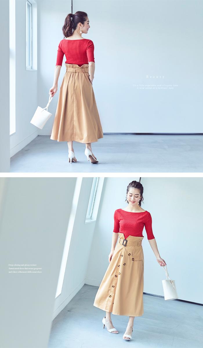 トレンチ風フレアスカート5