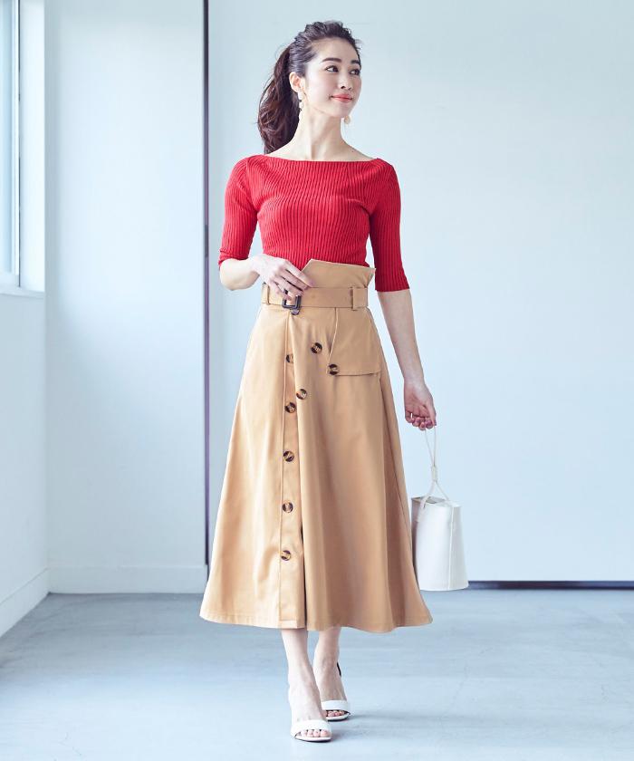 トレンチ風フレアスカート1