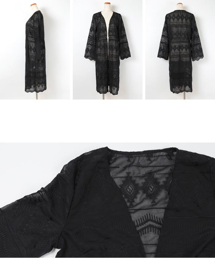 刺繍柄シフォンカーディガン14