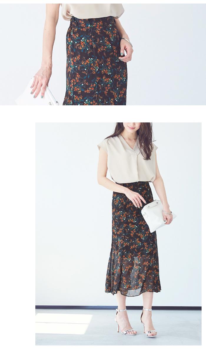 小花柄マーメイドスカート4