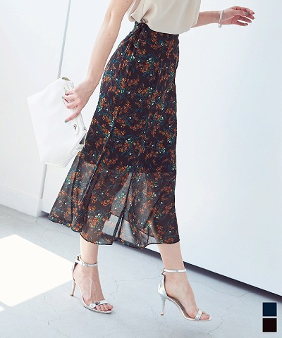小花柄マーメイドスカート