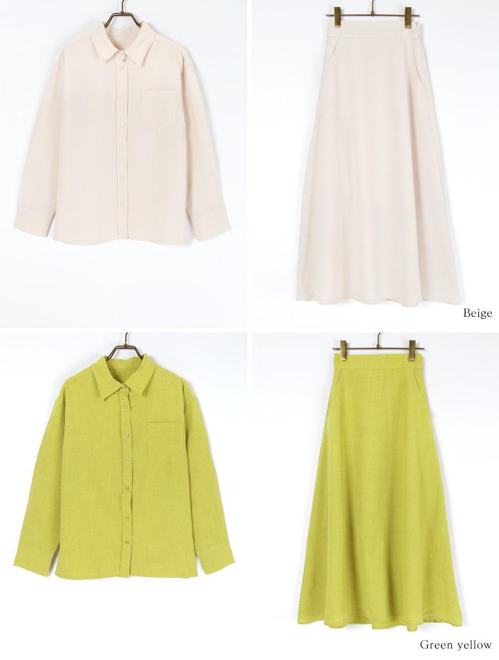 リネンライクシャツ×スカートセットアップ12