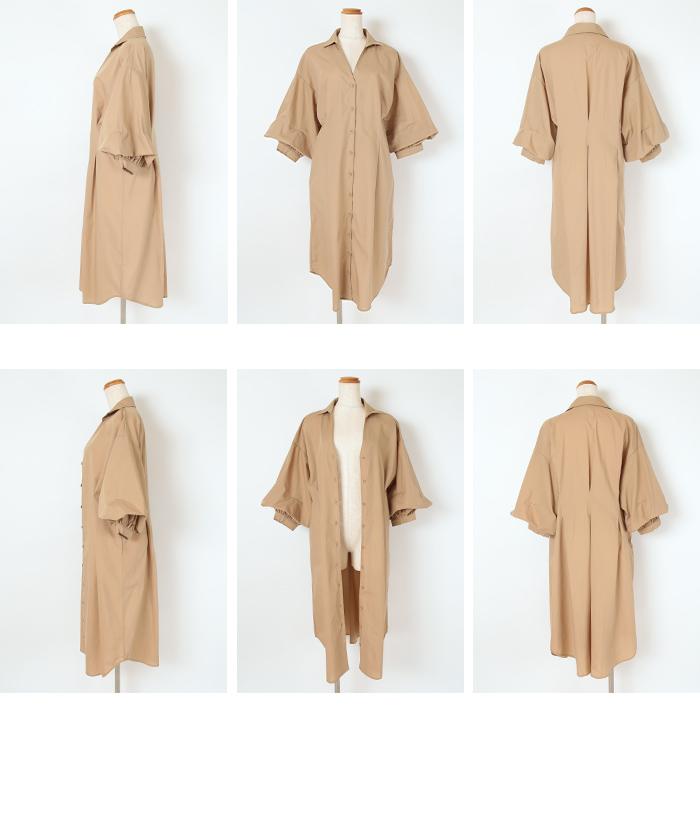 2wayボリューム袖ロングタックシャツワンピース14
