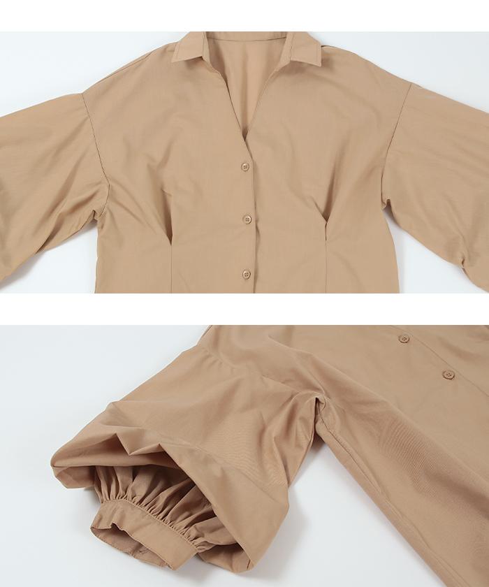 2wayボリューム袖ロングタックシャツワンピース15