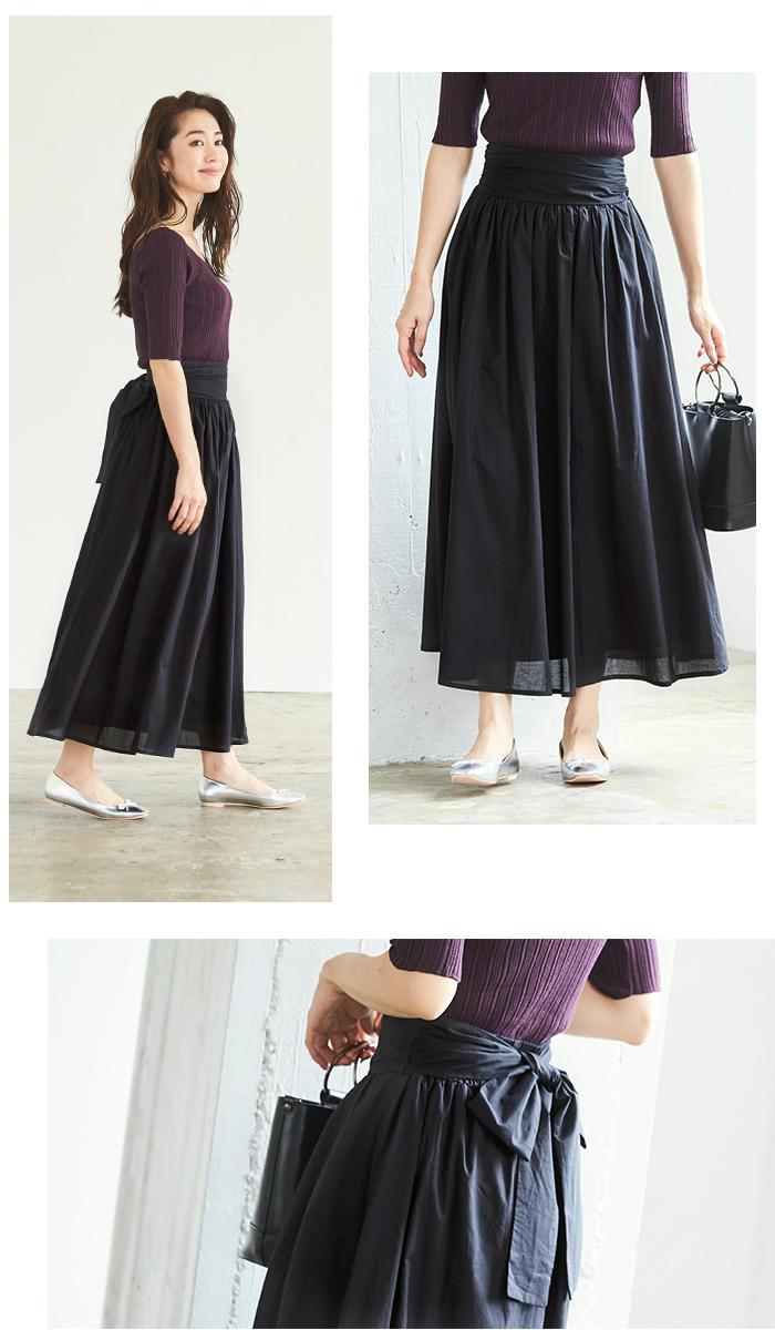 バックリボンギャザースカート6