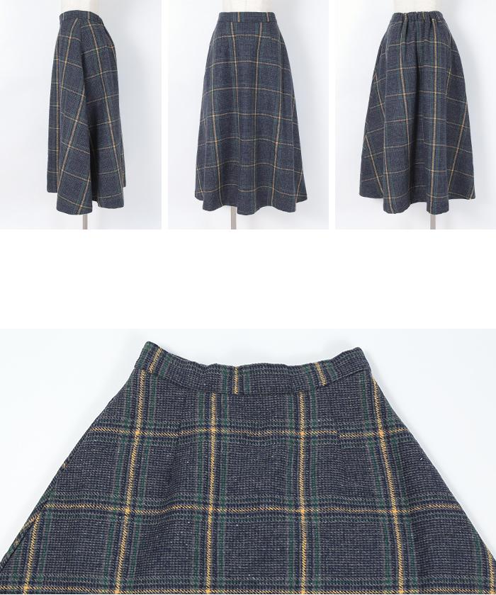 チェックフレアスカート14