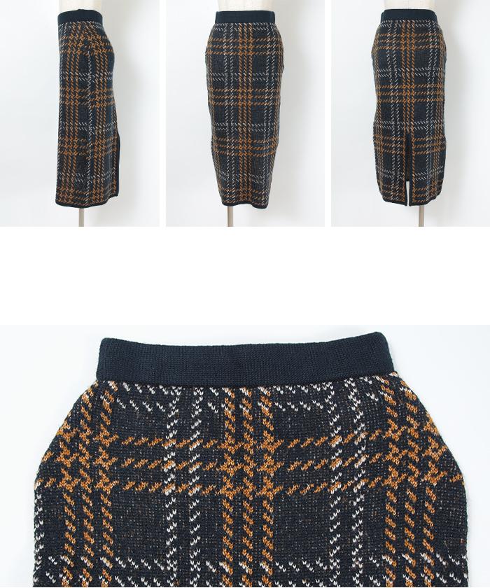 チェックニットタイトスカート14