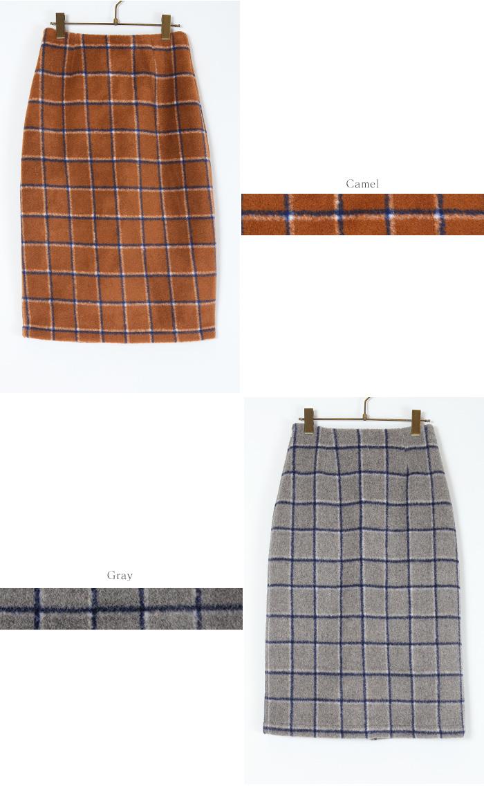ウール混チェックタイトスカート12