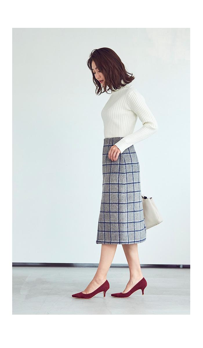 ウール混チェックタイトスカート3