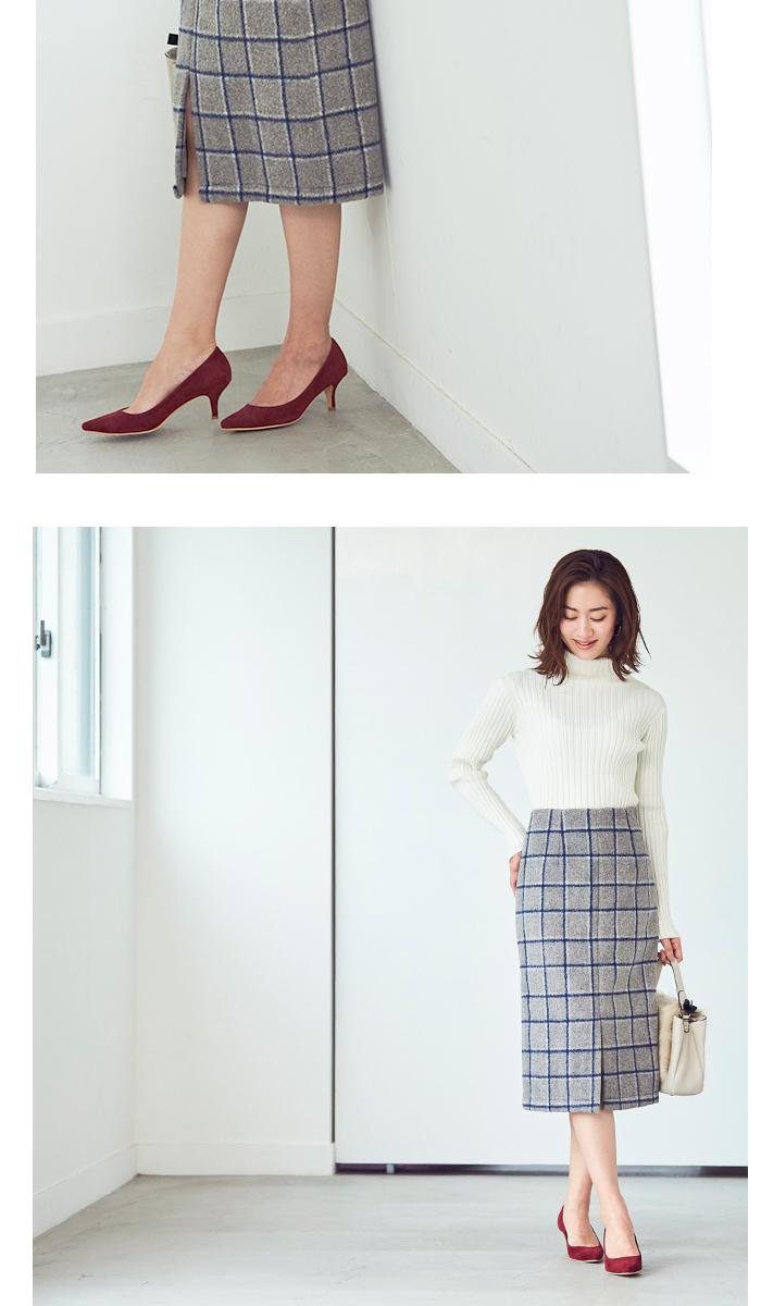 ウール混チェックタイトスカート5