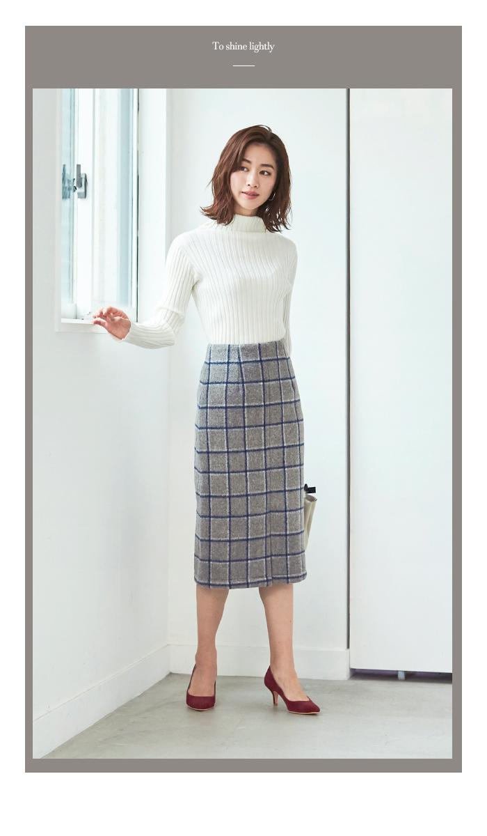 ウール混チェックタイトスカート11