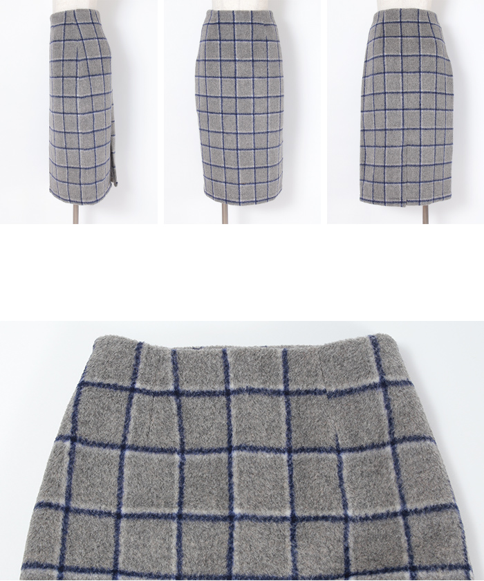 ウール混チェックタイトスカート14
