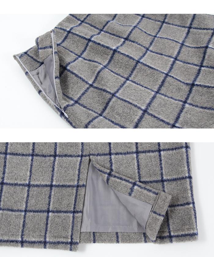 ウール混チェックタイトスカート15